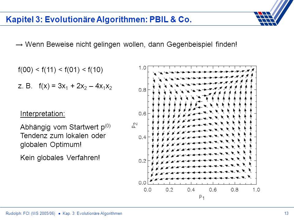 Rudolph: FCI (WS 2005/06) Kap. 3: Evolutionäre Algorithmen13 Kapitel 3: Evolutionäre Algorithmen: PBIL & Co. Wenn Beweise nicht gelingen wollen, dann