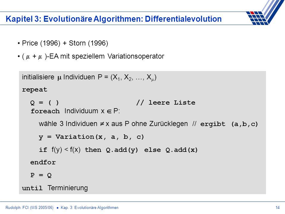 Rudolph: FCI (WS 2005/06) Kap. 3: Evolutionäre Algorithmen14 Kapitel 3: Evolutionäre Algorithmen: Differentialevolution Price (1996) + Storn (1996) (
