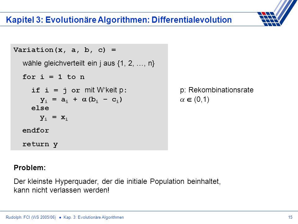 Rudolph: FCI (WS 2005/06) Kap. 3: Evolutionäre Algorithmen15 Kapitel 3: Evolutionäre Algorithmen: Differentialevolution Variation(x, a, b, c) = wähle