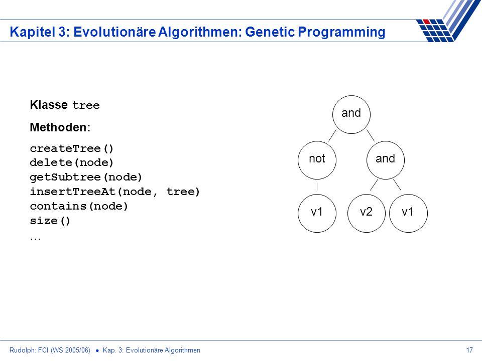 Rudolph: FCI (WS 2005/06) Kap. 3: Evolutionäre Algorithmen17 Kapitel 3: Evolutionäre Algorithmen: Genetic Programming and v1 and v1v2 not Klasse tree