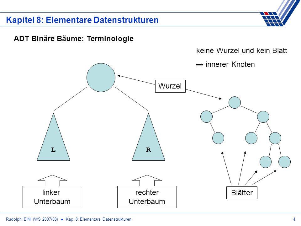 Rudolph: EINI (WS 2007/08) Kap. 8: Elementare Datenstrukturen4 Kapitel 8: Elementare Datenstrukturen ADT Binäre Bäume: Terminologie LR linker Unterbau