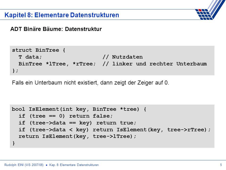 Rudolph: EINI (WS 2007/08) Kap. 8: Elementare Datenstrukturen5 Kapitel 8: Elementare Datenstrukturen ADT Binäre Bäume: Datenstruktur struct BinTree {