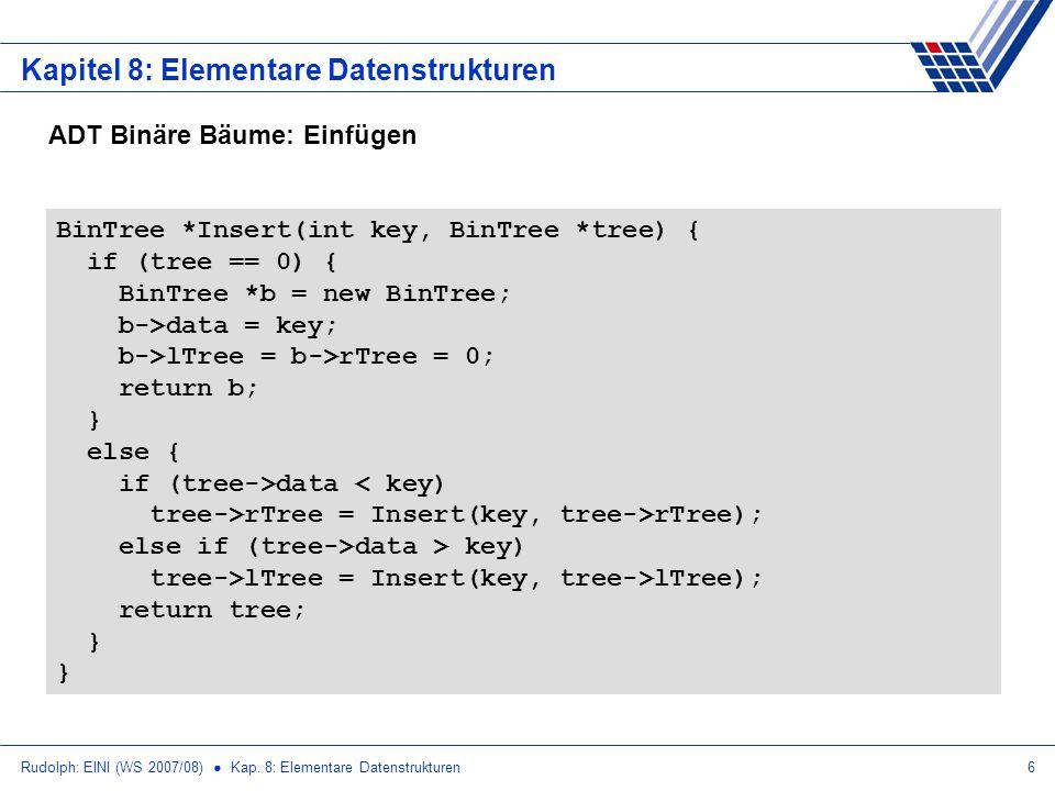 Rudolph: EINI (WS 2007/08) Kap. 8: Elementare Datenstrukturen6 Kapitel 8: Elementare Datenstrukturen ADT Binäre Bäume: Einfügen BinTree *Insert(int ke
