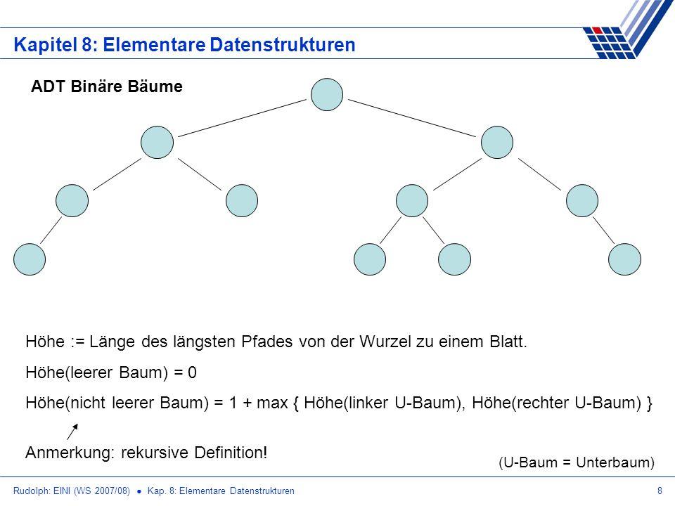 Rudolph: EINI (WS 2007/08) Kap. 8: Elementare Datenstrukturen8 Kapitel 8: Elementare Datenstrukturen ADT Binäre Bäume Höhe := Länge des längsten Pfade