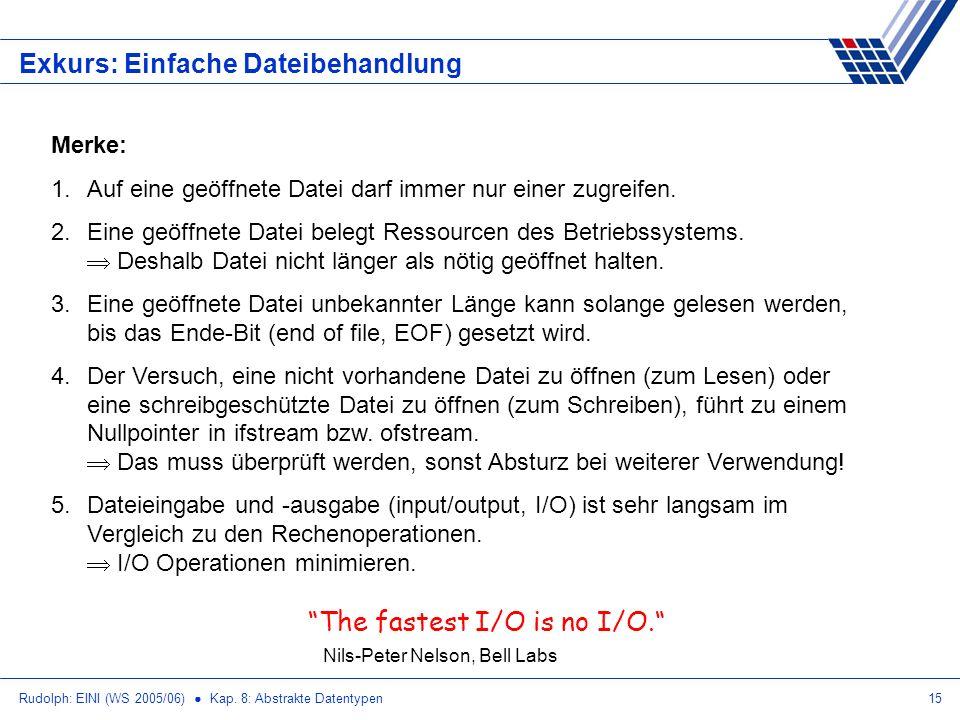 Rudolph: EINI (WS 2005/06) Kap. 8: Abstrakte Datentypen15 Exkurs: Einfache Dateibehandlung Merke: 1.Auf eine geöffnete Datei darf immer nur einer zugr
