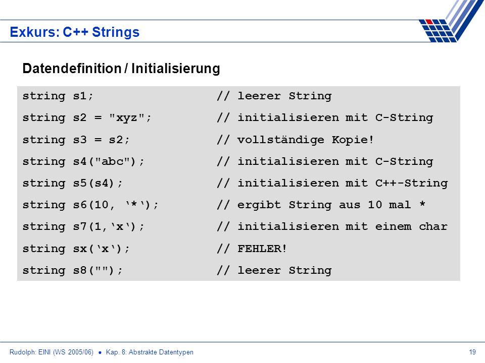 Rudolph: EINI (WS 2005/06) Kap. 8: Abstrakte Datentypen19 Exkurs: C++ Strings string s1;// leerer String string s2 =