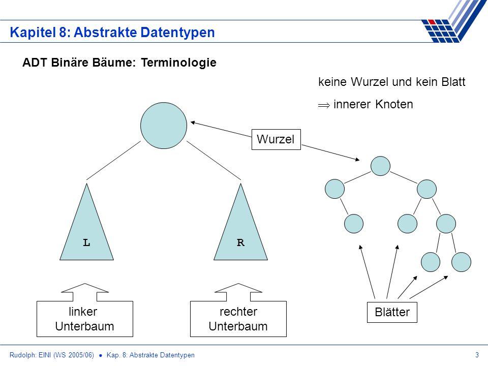 Rudolph: EINI (WS 2005/06) Kap. 8: Abstrakte Datentypen3 Kapitel 8: Abstrakte Datentypen ADT Binäre Bäume: Terminologie LR linker Unterbaum rechter Un