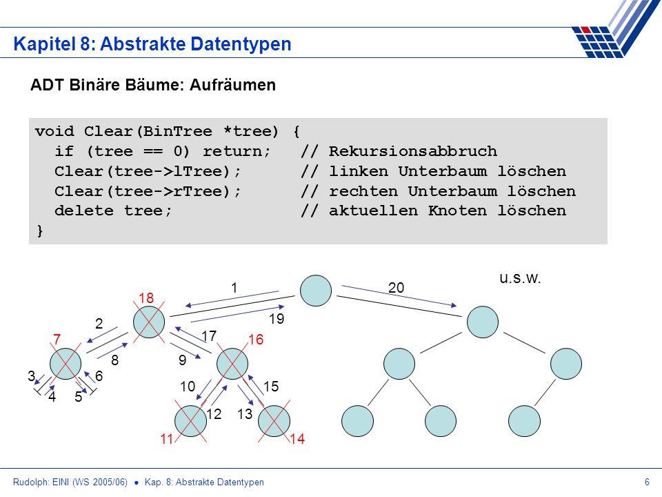Rudolph: EINI (WS 2005/06) Kap. 8: Abstrakte Datentypen6 Kapitel 8: Abstrakte Datentypen ADT Binäre Bäume: Aufräumen void Clear(BinTree *tree) { if (t