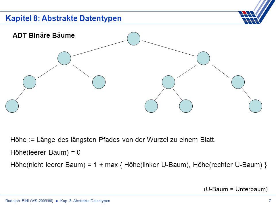 Rudolph: EINI (WS 2005/06) Kap. 8: Abstrakte Datentypen7 Kapitel 8: Abstrakte Datentypen ADT Binäre Bäume Höhe := Länge des längsten Pfades von der Wu