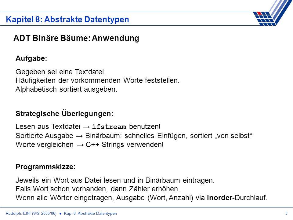 Rudolph: EINI (WS 2005/06) Kap. 8: Abstrakte Datentypen3 Kapitel 8: Abstrakte Datentypen ADT Binäre Bäume: Anwendung Aufgabe: Gegeben sei eine Textdat