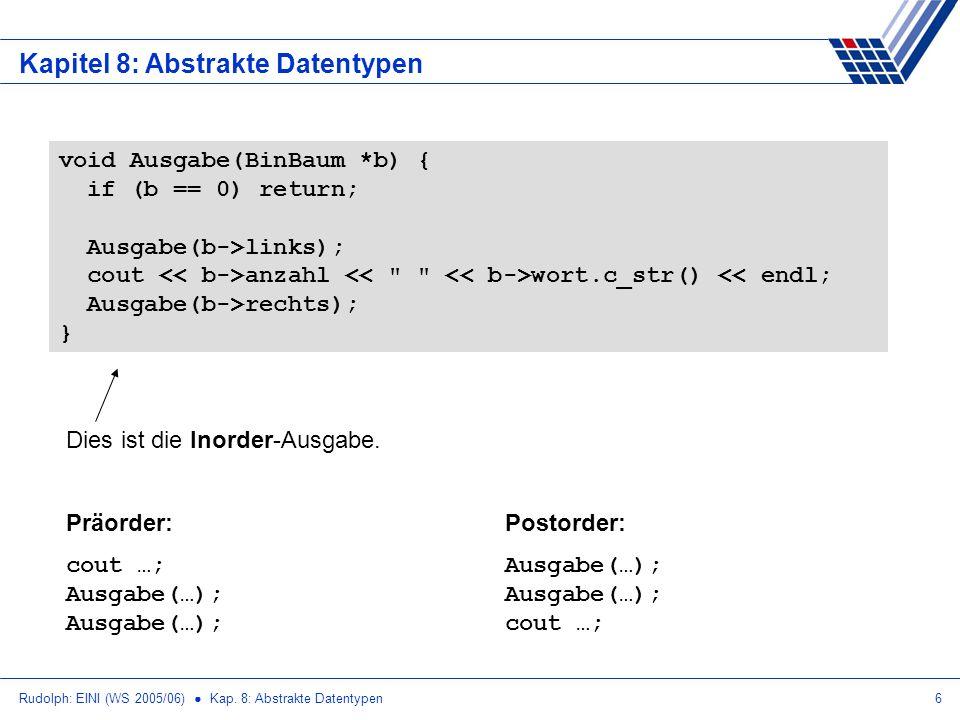 Rudolph: EINI (WS 2005/06) Kap. 8: Abstrakte Datentypen6 Kapitel 8: Abstrakte Datentypen void Ausgabe(BinBaum *b) { if (b == 0) return; Ausgabe(b->lin