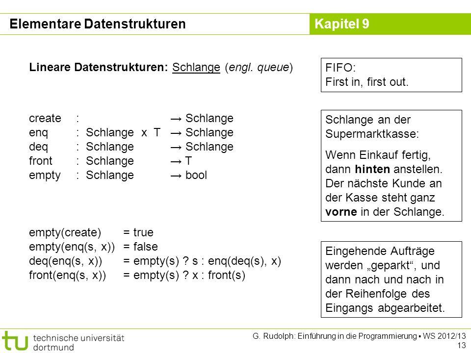 Kapitel 9 G. Rudolph: Einführung in die Programmierung WS 2012/13 13 Lineare Datenstrukturen: Schlange (engl. queue) Schlange an der Supermarktkasse: