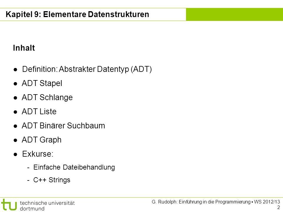 Kapitel 9 G. Rudolph: Einführung in die Programmierung WS 2012/13 2 Kapitel 9: Elementare Datenstrukturen Inhalt Definition: Abstrakter Datentyp (ADT)