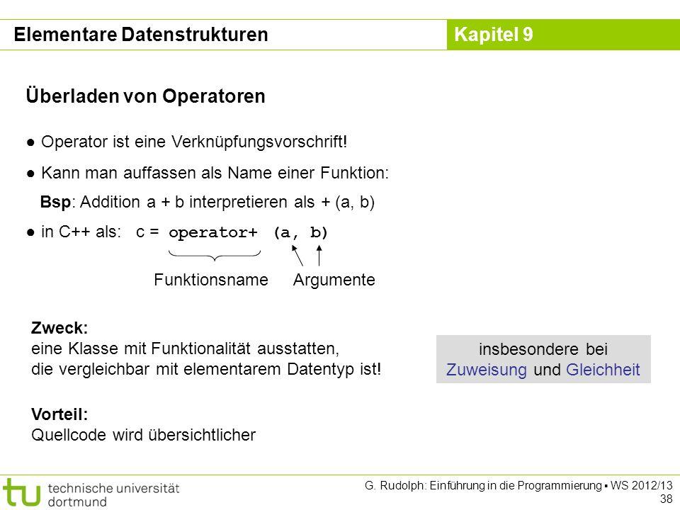 Kapitel 9 Elementare Datenstrukturen Operator ist eine Verknüpfungsvorschrift! Kann man auffassen als Name einer Funktion: Bsp: Addition a + b interpr