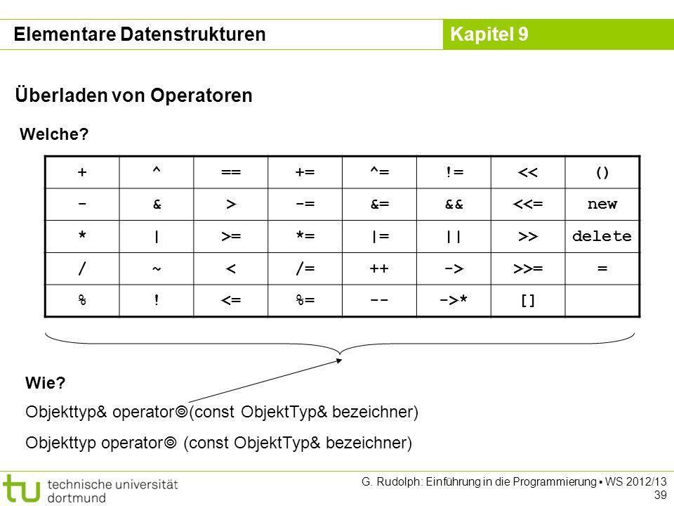 Kapitel 9 Elementare Datenstrukturen Überladen von Operatoren Welche? +^==+=^=!=<<() -&>-=&=&&<<=new *|>=*=|=||>>delete /~</=++->>>== %!<=%=--->*[] Wi