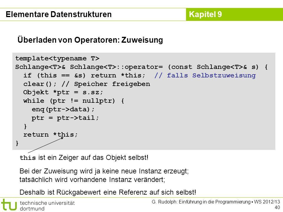 Kapitel 9 Elementare Datenstrukturen Überladen von Operatoren: Zuweisung template Schlange & Schlange ::operator= (const Schlange & s) { if (this == &