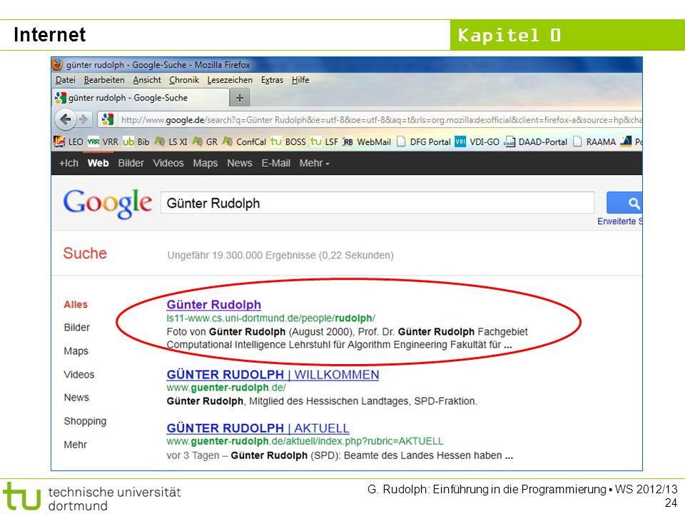 Kapitel 0 G. Rudolph: Einführung in die Programmierung WS 2012/13 24 Internet