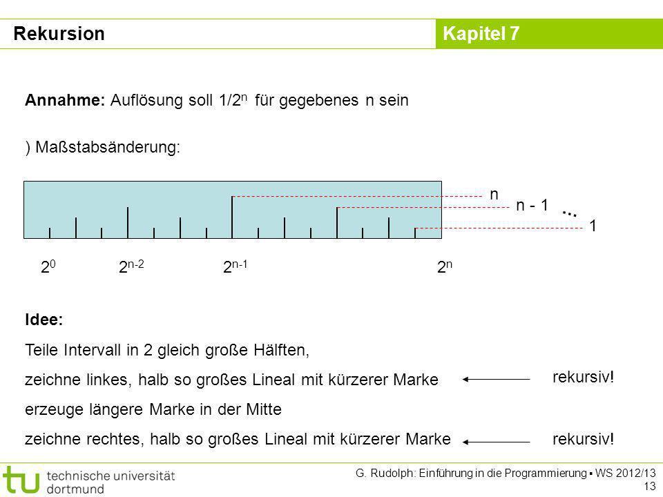 Kapitel 7 G. Rudolph: Einführung in die Programmierung WS 2012/13 13 Annahme: Auflösung soll 1/2 n für gegebenes n sein 2n2n 2 n-1 2 n-2 ) Maßstabsänd