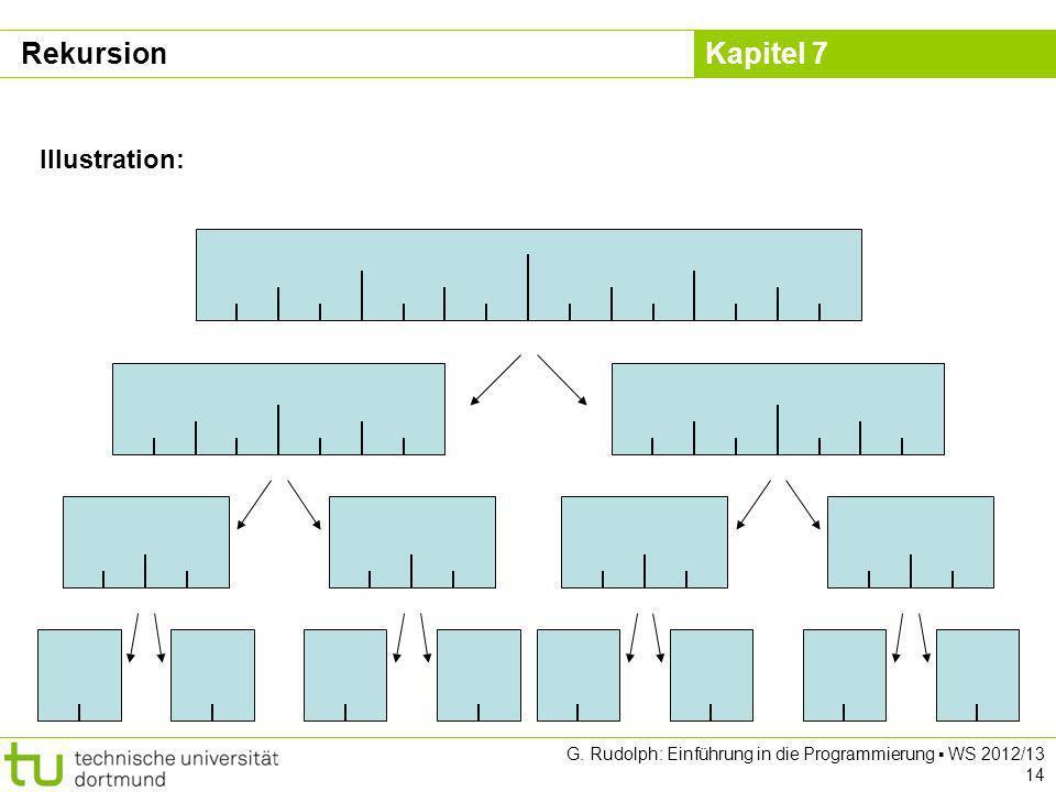 Kapitel 7 G. Rudolph: Einführung in die Programmierung WS 2012/13 14 Illustration: Rekursion
