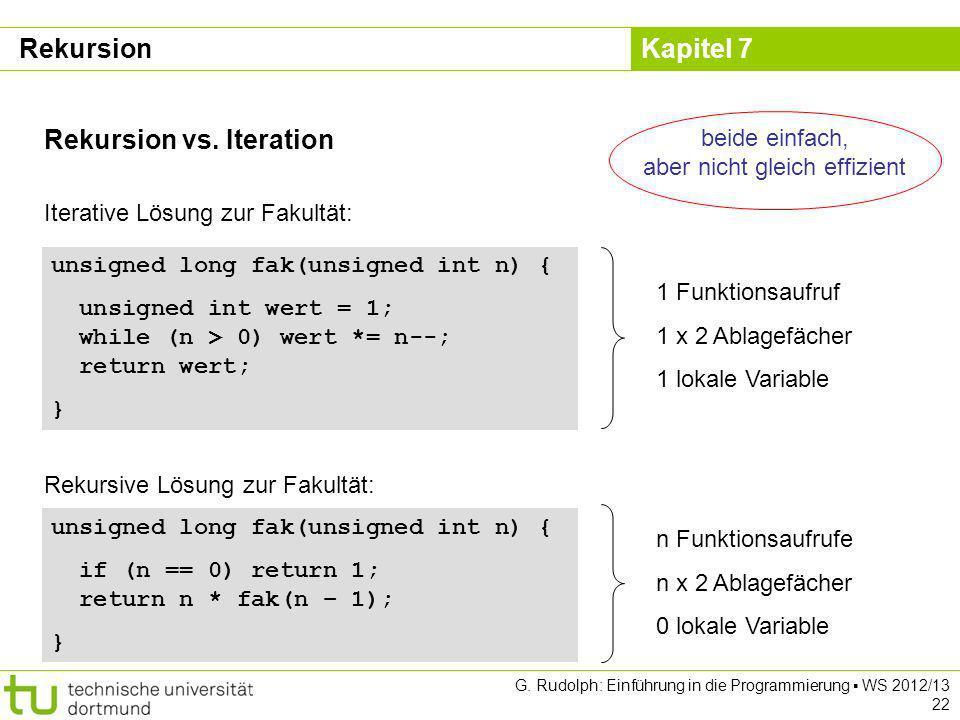 Kapitel 7 G. Rudolph: Einführung in die Programmierung WS 2012/13 22 Rekursion vs. Iteration Iterative Lösung zur Fakultät: unsigned long fak(unsigned