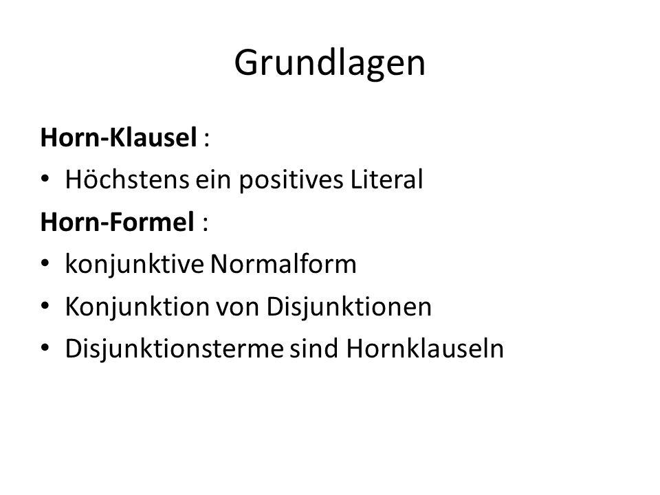 Grundlagen Horn-Klausel : Höchstens ein positives Literal Horn-Formel : konjunktive Normalform Konjunktion von Disjunktionen Disjunktionsterme sind Hornklauseln