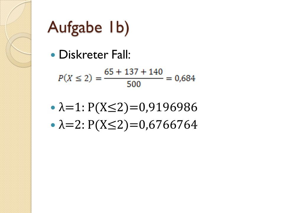 Aufgabe 1b) Diskreter Fall: λ=1: P(X2)=0,9196986 λ=2: P(X2)=0,6766764