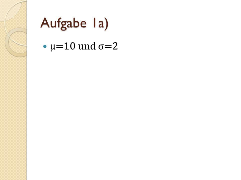 Aufgabe 1a) μ=10 und σ=2