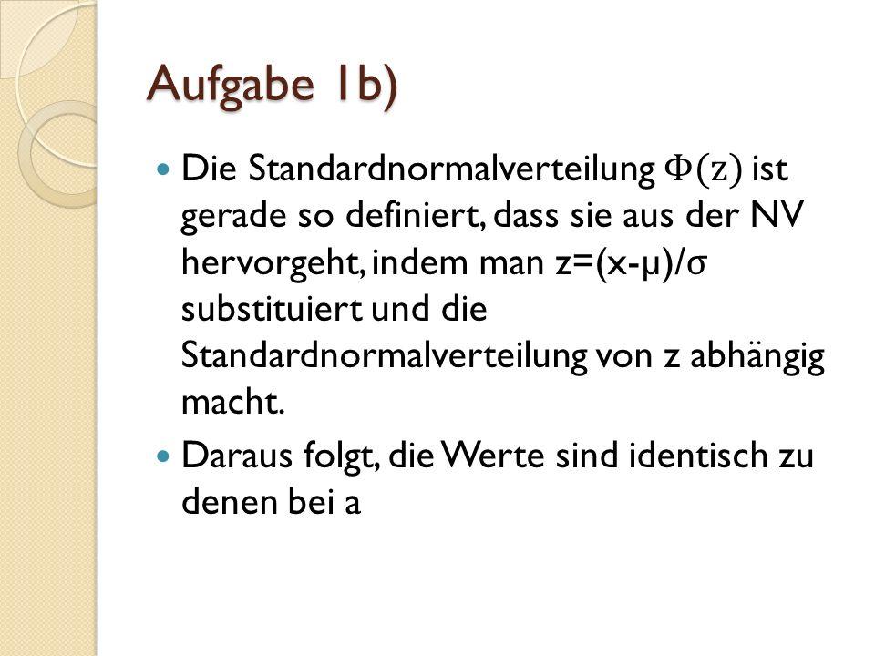 Aufgabe 1b) Die Standardnormalverteilung Φ(z) ist gerade so definiert, dass sie aus der NV hervorgeht, indem man z=(x-µ)/ σ substituiert und die Standardnormalverteilung von z abhängig macht.