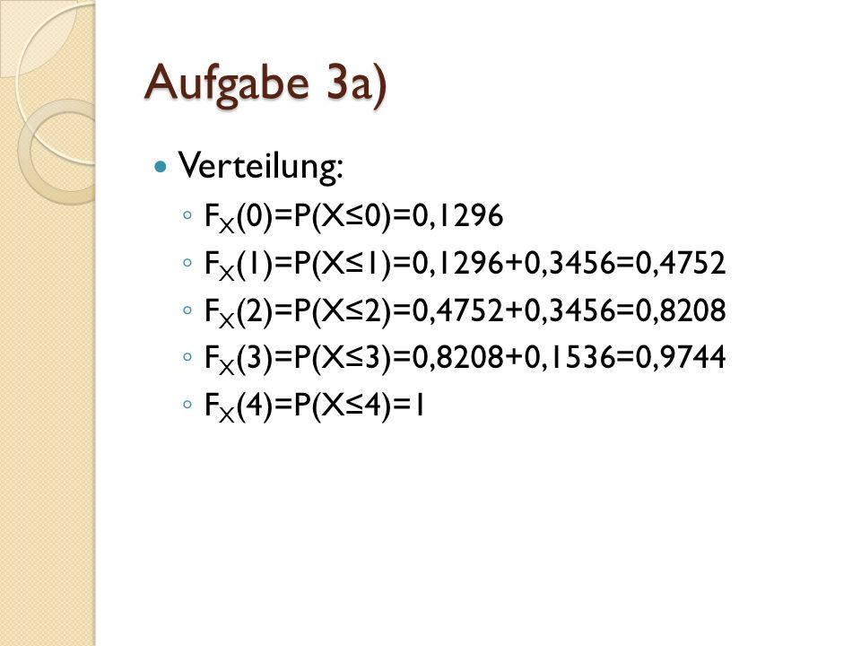Verteilung: F X (0)=P(X0)=0,1296 F X (1)=P(X1)=0,1296+0,3456=0,4752 F X (2)=P(X2)=0,4752+0,3456=0,8208 F X (3)=P(X3)=0,8208+0,1536=0,9744 F X (4)=P(X4