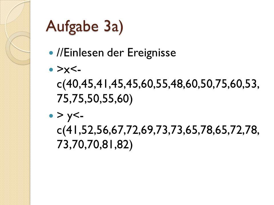 Aufgabe 3a) //Einlesen der Ereignisse >x<- c(40,45,41,45,45,60,55,48,60,50,75,60,53, 75,75,50,55,60) > y<- c(41,52,56,67,72,69,73,73,65,78,65,72,78, 7