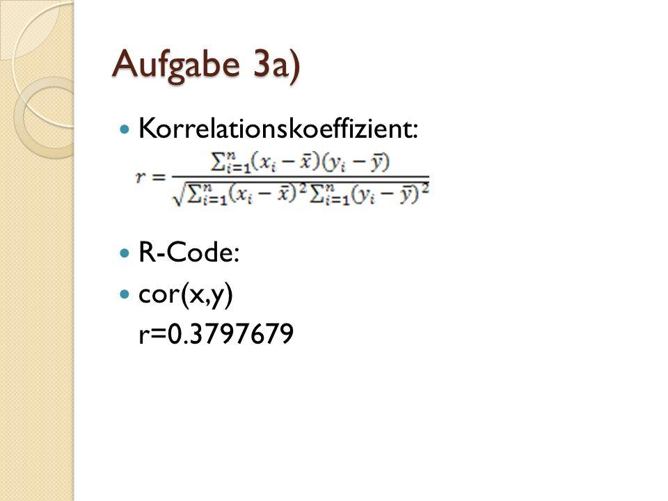 Korrelationskoeffizient: R-Code: cor(x,y) r=0.3797679