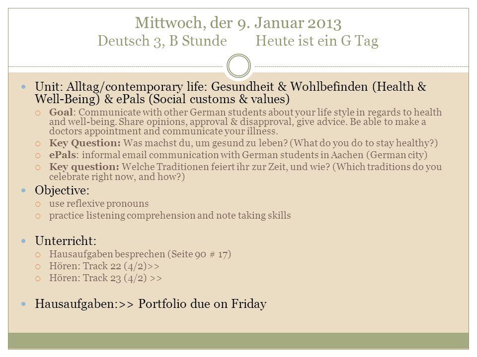 Email an die deutschen Schüler: Beachte den Anfang und das Ende deiner Email.