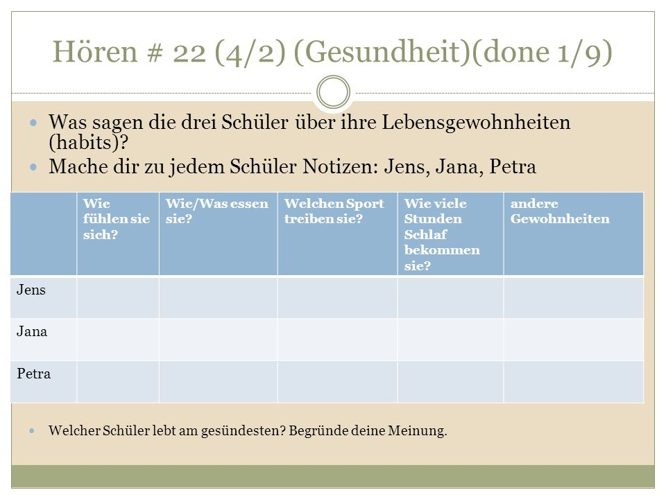 Hören # 22 (4/2) (Gesundheit)(done 1/9) Was sagen die drei Schüler über ihre Lebensgewohnheiten (habits).