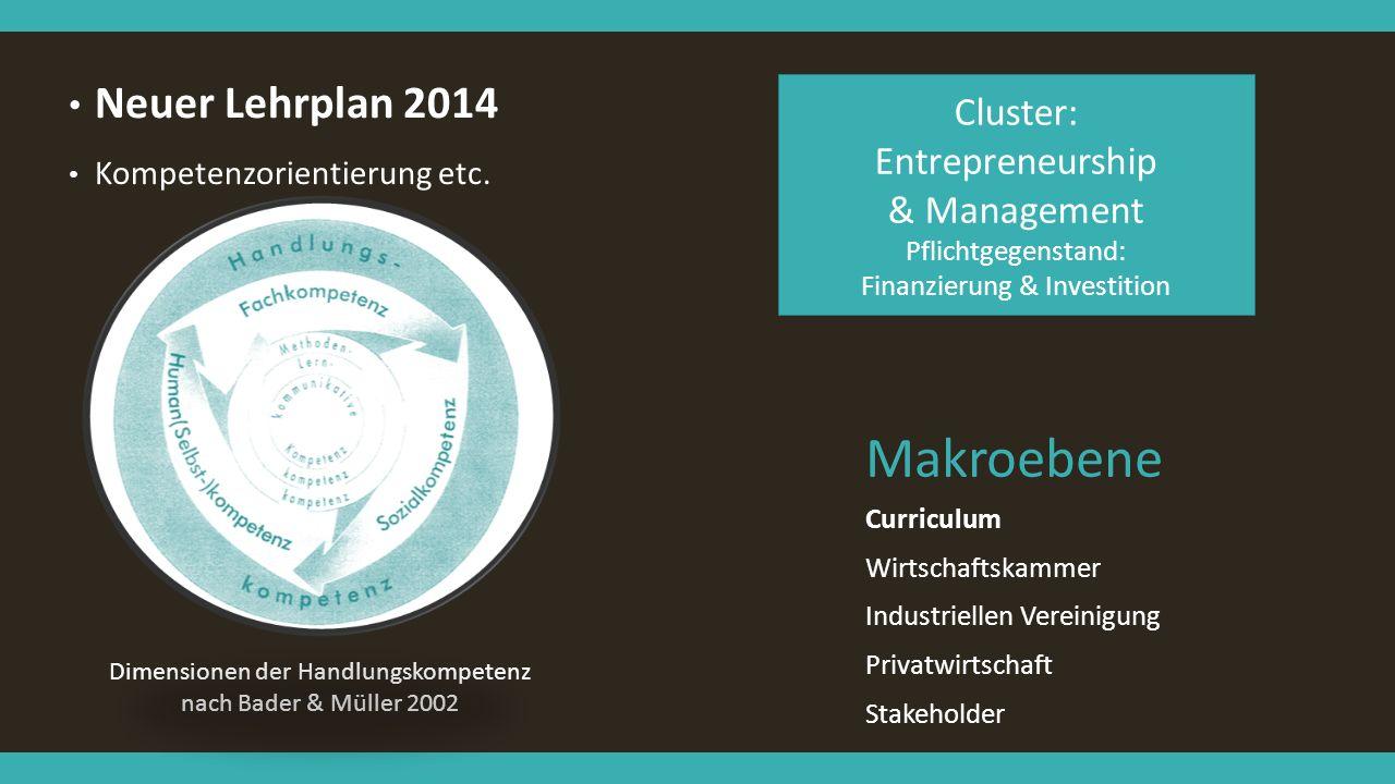 Makroebene Neuer Lehrplan 2014 Kompetenzorientierung etc. Curriculum Wirtschaftskammer Industriellen Vereinigung Privatwirtschaft Stakeholder Dimensio
