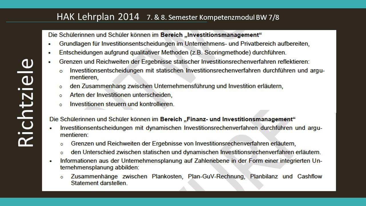 Richtziele HAK Lehrplan 2014 7. & 8. Semester Kompetenzmodul BW 7/8