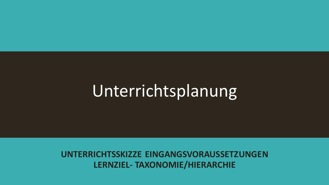 Unterrichtsplanung UNTERRICHTSSKIZZE EINGANGSVORAUSSETZUNGEN LERNZIEL- TAXONOMIE/HIERARCHIE