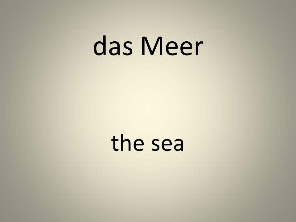 das Meer the sea