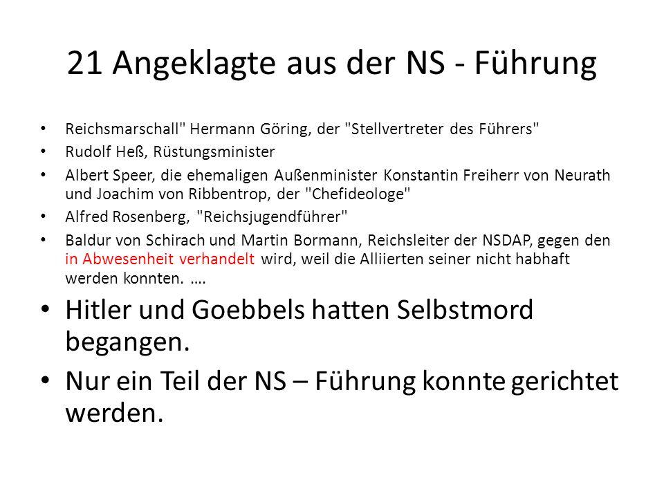 21 Angeklagte aus der NS - Führung Reichsmarschall
