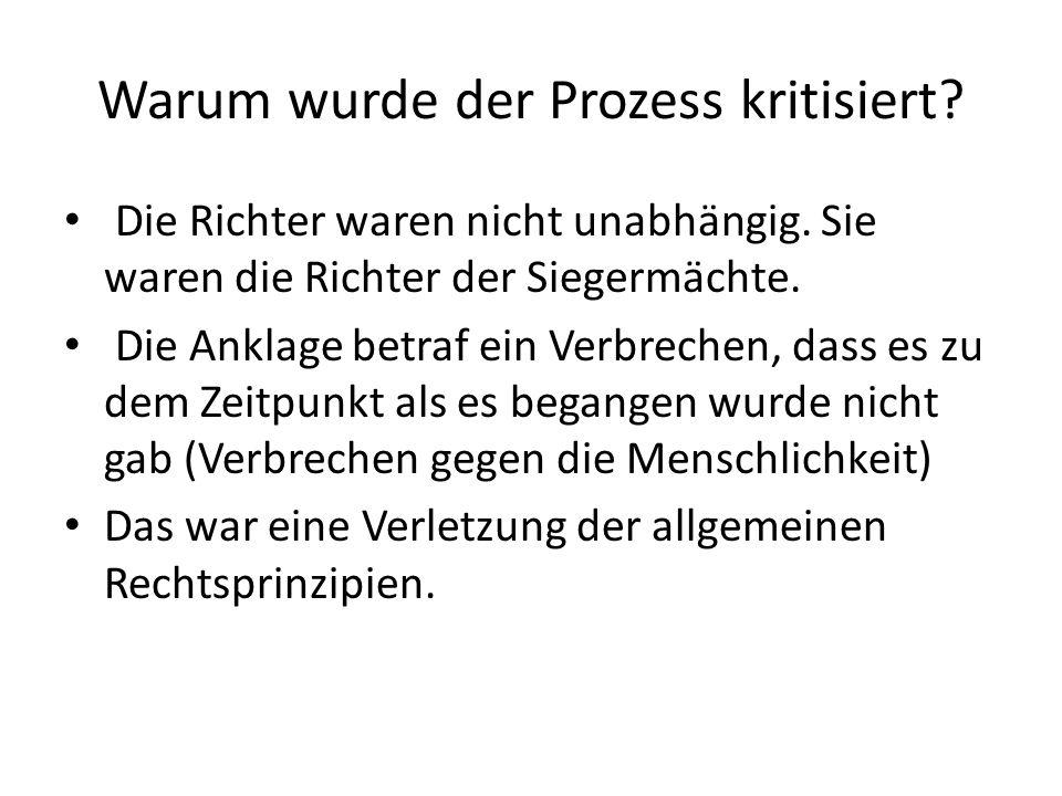 Der Verdienst der Nürnberger Prozesse.