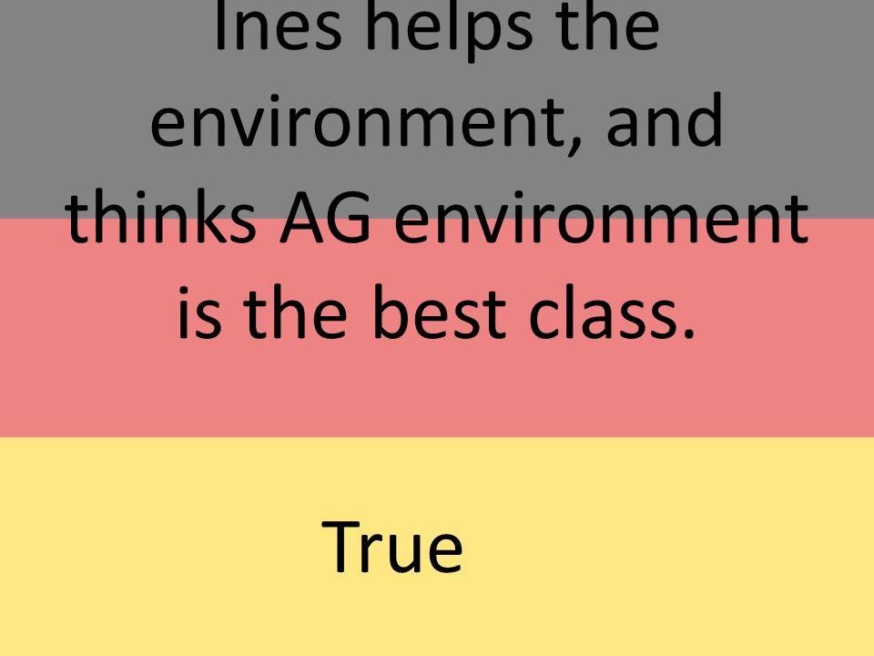 Ines helps the environment, and thinks AG environment is the best class. True