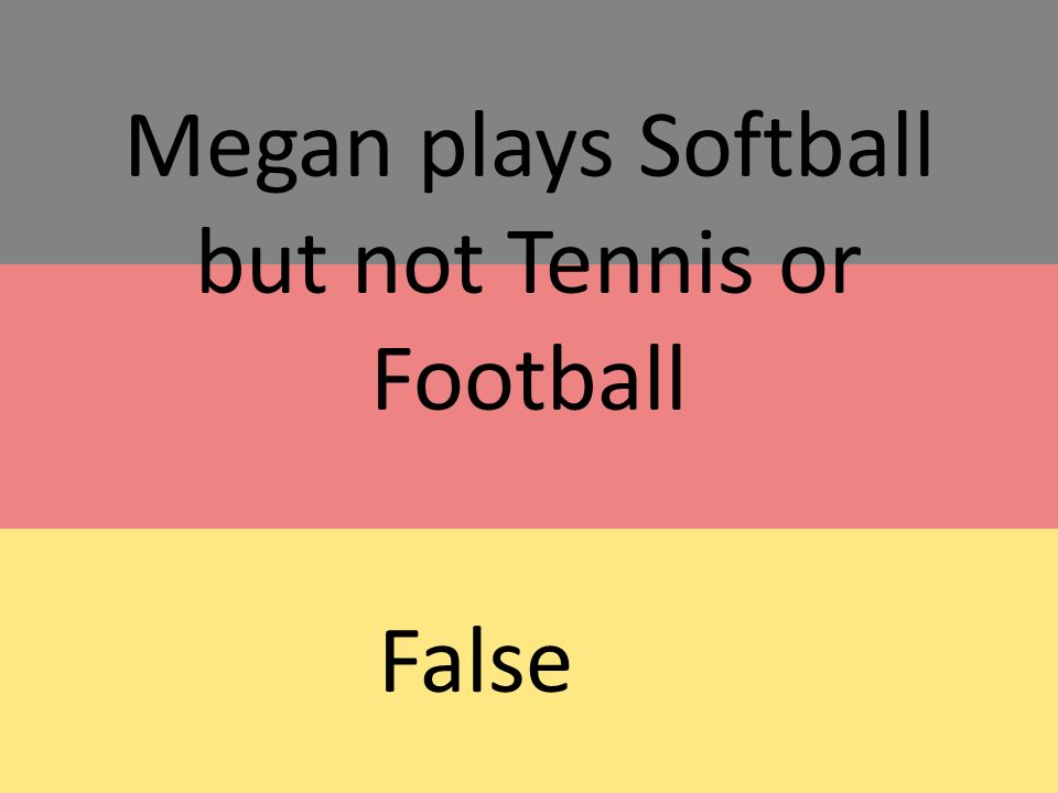 Megan plays Softball but not Tennis or Football False