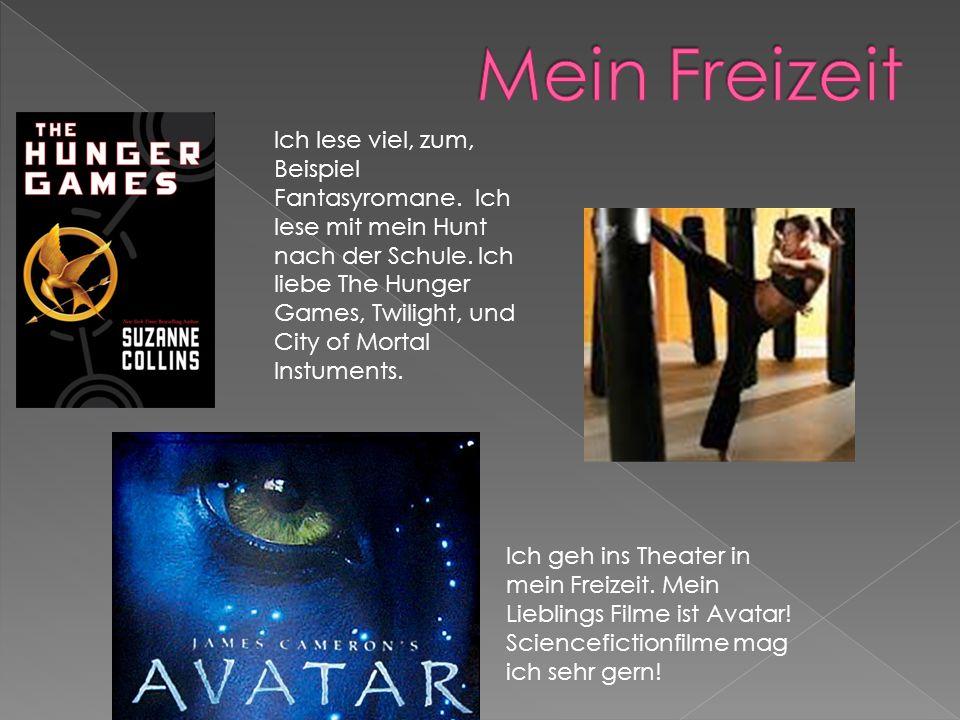 Ich geh ins Theater in mein Freizeit. Mein Lieblings Filme ist Avatar! Sciencefictionfilme mag ich sehr gern! Ich lese viel, zum, Beispiel Fantasyroma