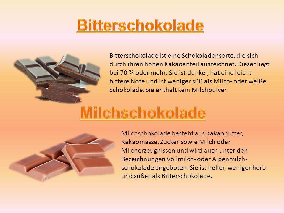 Weiße Schokolade wird aus Kakaobutter, Zucker und Milchbestandteilen hergestellt.