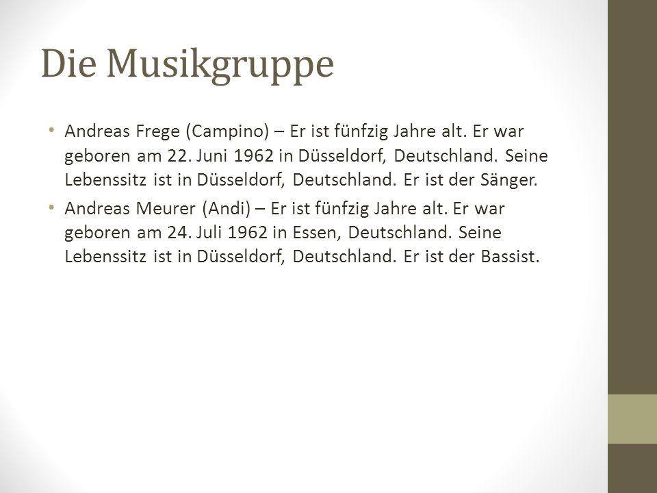 Die Musikgruppe Andreas Frege (Campino) – Er ist fünfzig Jahre alt. Er war geboren am 22. Juni 1962 in Düsseldorf, Deutschland. Seine Lebenssitz ist i