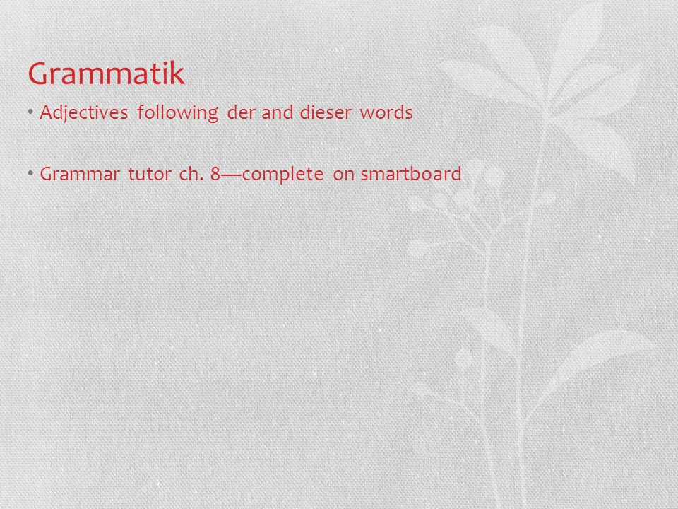 Grammatik Adjectives following der and dieser words Grammar tutor ch. 8complete on smartboard