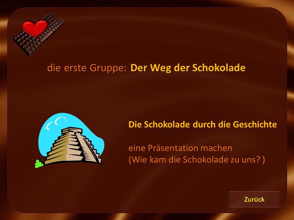 Zurück die erste Gruppe: Der Weg der Schokolade Die Schokolade durch die Geschichte eine Präsentation machen (Wie kam die Schokolade zu uns? )