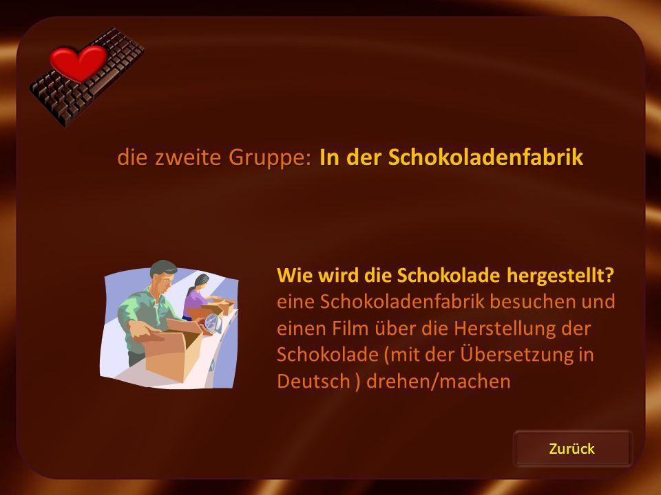 Zurück die zweite Gruppe: In der Schokoladenfabrik Wie wird die Schokolade hergestellt? eine Schokoladenfabrik besuchen und einen Film über die Herste