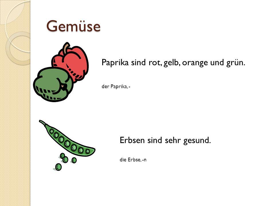 Gemüse Paprika sind rot, gelb, orange und grün. der Paprika, - Erbsen sind sehr gesund. die Erbse, -n