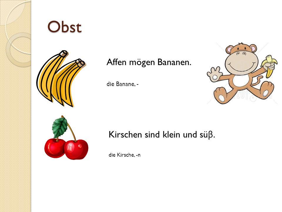 Obst Affen mögen Bananen. die Banane, - Kirschen sind klein und sü β. die Kirsche, -n