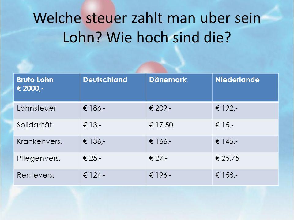 Welche steuer zahlt man uber sein Lohn? Wie hoch sind die? Bruto Lohn 2000,- DeutschlandDänemarkNiederlande Lohnsteuer 186,- 209,- 192,- Solidarität 1